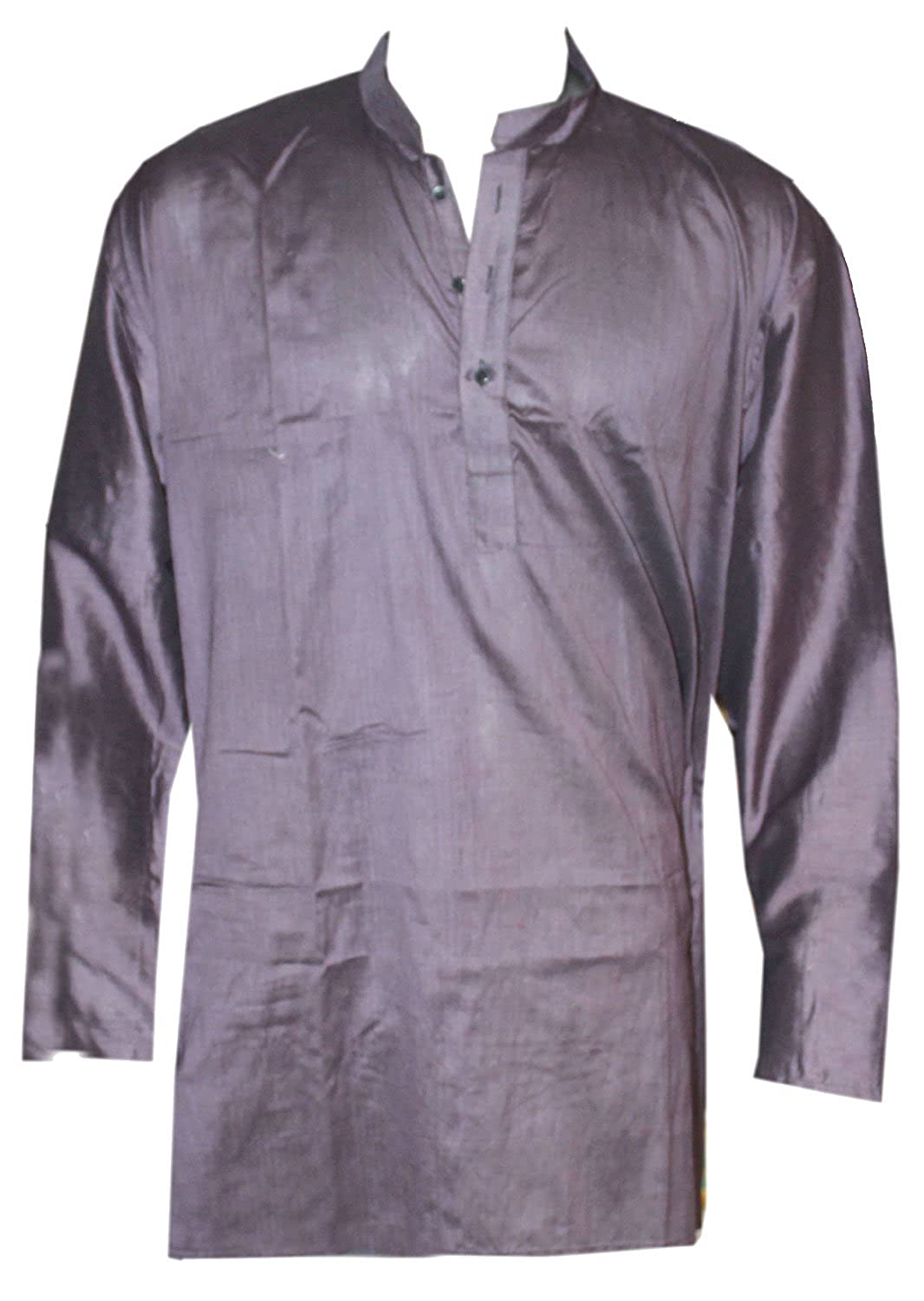 Lakkar Haveli Indian 100/% Cotton Mens Kurta Solid Violet Color Loose Fit Shirt Tunic Plus Size