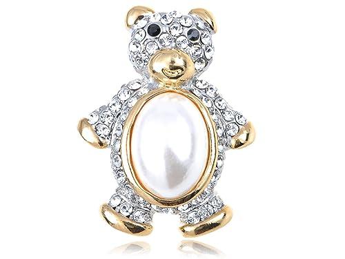 97ada7e7a72dc Amazon.com: Alilang Golden Tone Clear Crystal Rhinestone Faux Pearl ...