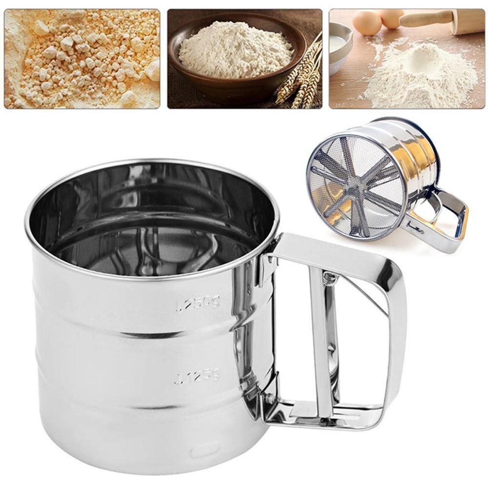 AOLVO - Dispensador de harina de Malla mecánico para Hornear glaseado y azúcar: Amazon.es: Hogar
