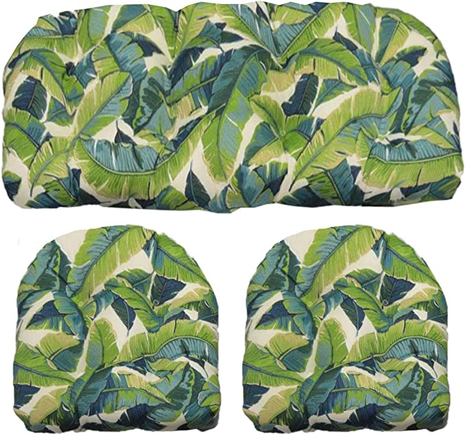 Rsh Décor Balmoral Opal Cancun Blue And Kiwi Green Tropical Palm Leaf Cushions For Wicker Loveseat Settee 2 Matching Chair Cushions Garden Outdoor Amazon Com