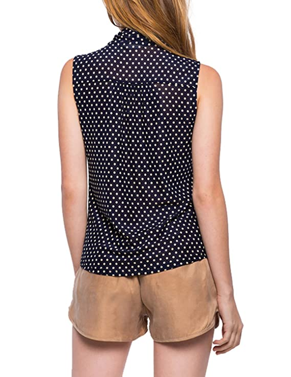 ASMAX Haoduoyi Womens Brief Front Tie Bow Dots Sleeveless Chiffon Blouses Shirts - Blue - Small: Amazon.co.uk: Clothing