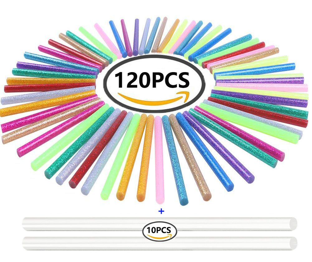 130pcs Colorful Hot Melt Glue Stick, WeiMo Small Glue Gun Used Long Shape Hot Melt Glue Stick for Art Craft DIY Home Decoration Sealing and Gluing (130) by WeiMo (Image #1)