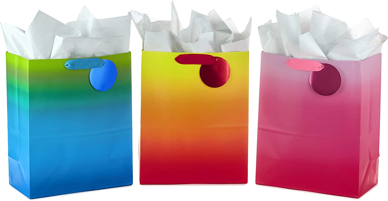 """Hallmark 13"""" Large Gift Bags Assortment with Tissue Paper (Colorful Ombré) Pack of 3 for Birthdays, Halloween, Holidays, Baby Showers, Bridal Showers"""