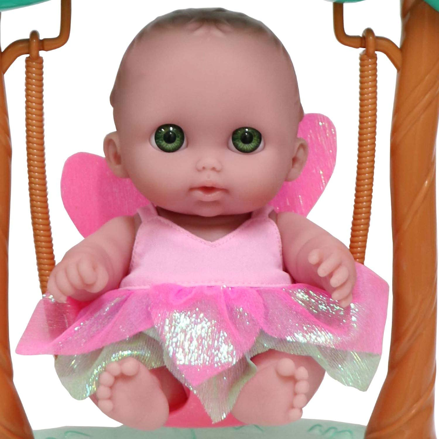 JC Toys Green Fairy Swing Set Featuring Lil Cutesies 8.5 All Vinyl Doll  and her Unicorn Friend