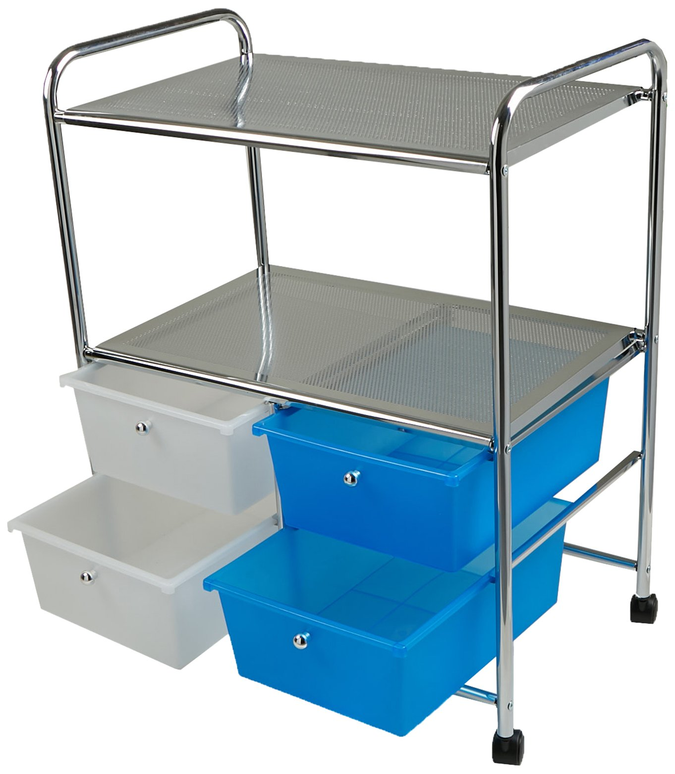 Mind Reader All Purpose Utility Cart with Handles and 4 Storage Drawers, Silver by Mind Reader