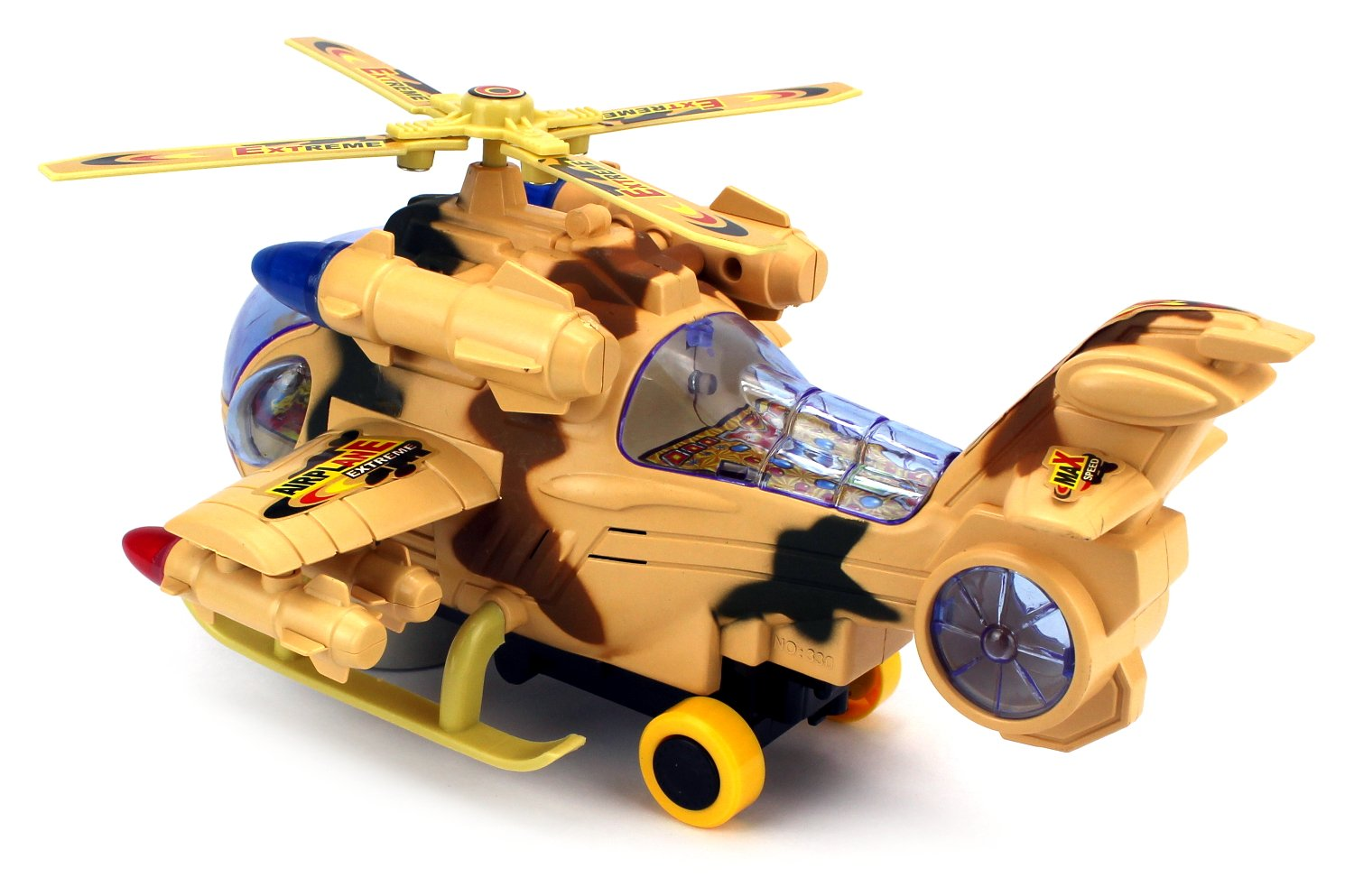 Amazon.com: Fighter Copter Battery Operated Bump and Go Toy Helicopter w/ Flashing Lights, Sounds (Colors May Vary): Toys & Games