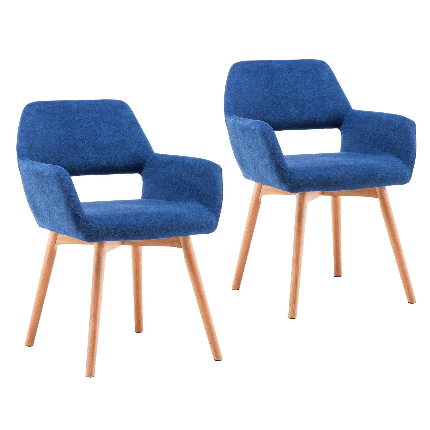 Homy Grigio Modern Living Dining Room Accent Arm Chairs Club Guest with Solid Wood Legs Set of 2,Blue
