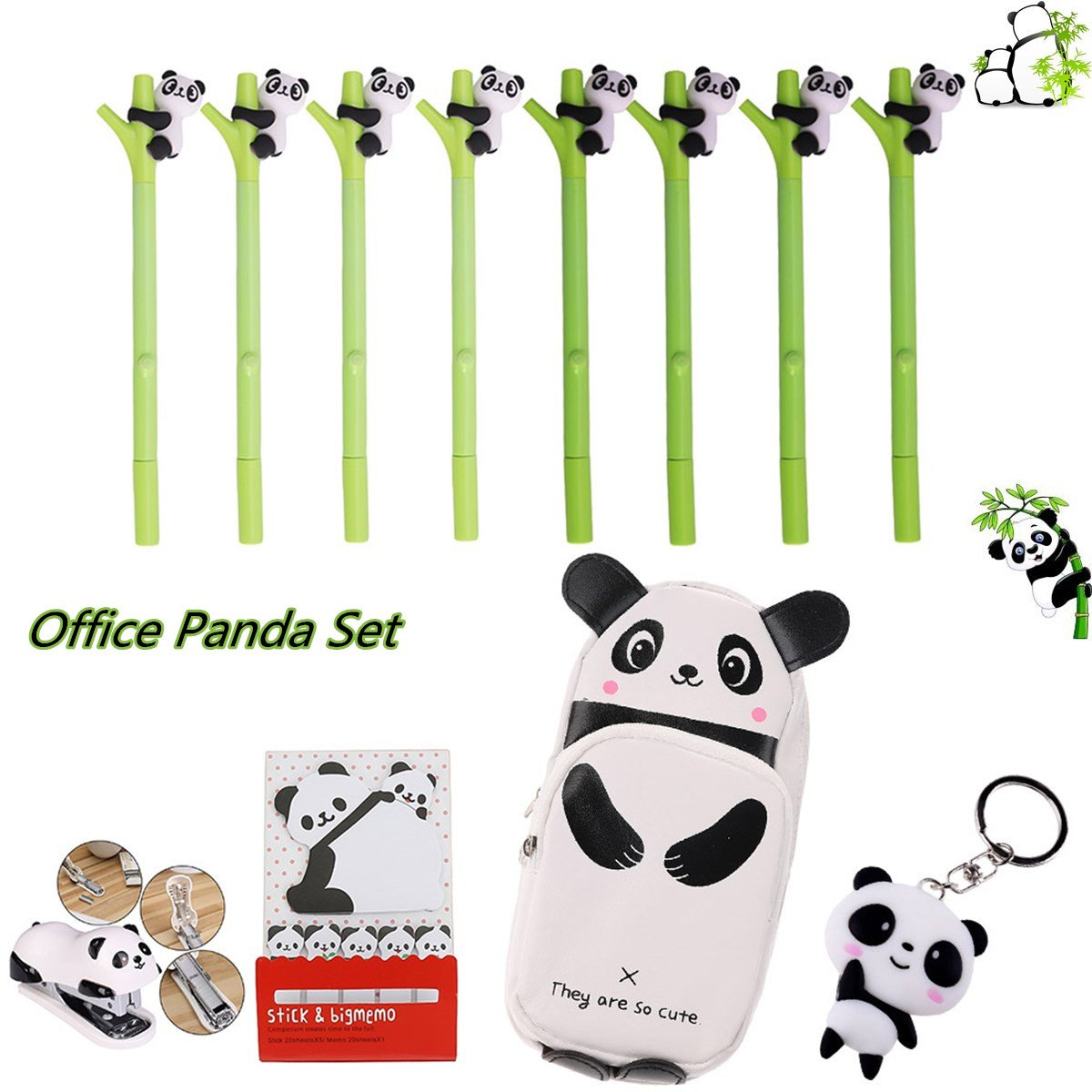 Wangyue Office Panda Set Panda Bamboo Gel Ink Pen Pack of 8 and One Set Mini Desktop Stapler One Stationery Bag Pen Holder One Cute Panda Keychain One Set Memo Sticky Notes for School Kids Girls Gifts