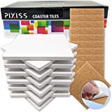 Ceramic Tiles for Crafts Coasters,12 Ceramic White Tiles Unglazed 4x4 with Cork Backing Pads, Use with Alcohol Ink or Acrylic