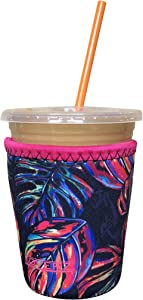 Koverz Neoprene Iced Coffee Java Sleeve - Insulator Sleeve for Cold Beverages, Neoprene Cup Holder - Compatible with Starbucks & McDonald's Coffee - Small Tropics