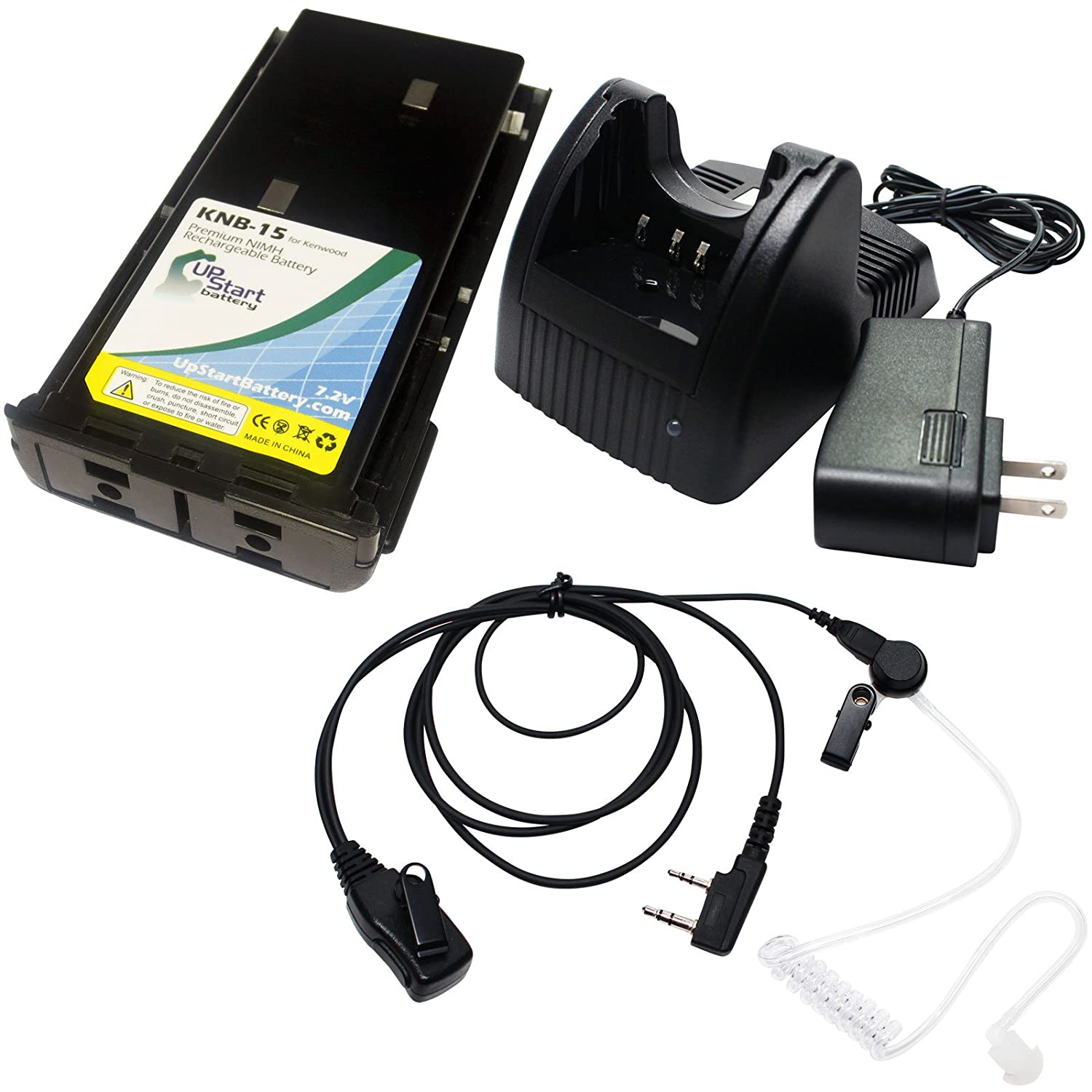 Amazon.com: Kenwood TK-370G Battery + Charger + FBI Earpiece with Push to  Talk (PTT) Microphone - Replacement for Kenwood KNB-15 Two-Way Radio  (1300mAh, ...