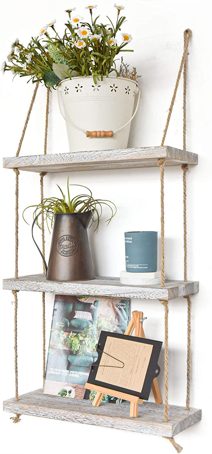 Labcosi 3 Tier Rope Wall Hanging Floating Shelves, Rustic White Wall Shelf, Swing Wood Farmhouse Decor and Display Rack for Living Room, Bathroom, Bedroom, and Outdoor