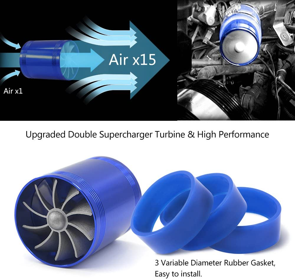 Mesllin Doppelturbinen Ventilator Auto Luftfilter Einlass Gas Kraftstoff Sparer Turbolader Mit 3 Gummihalter Auto