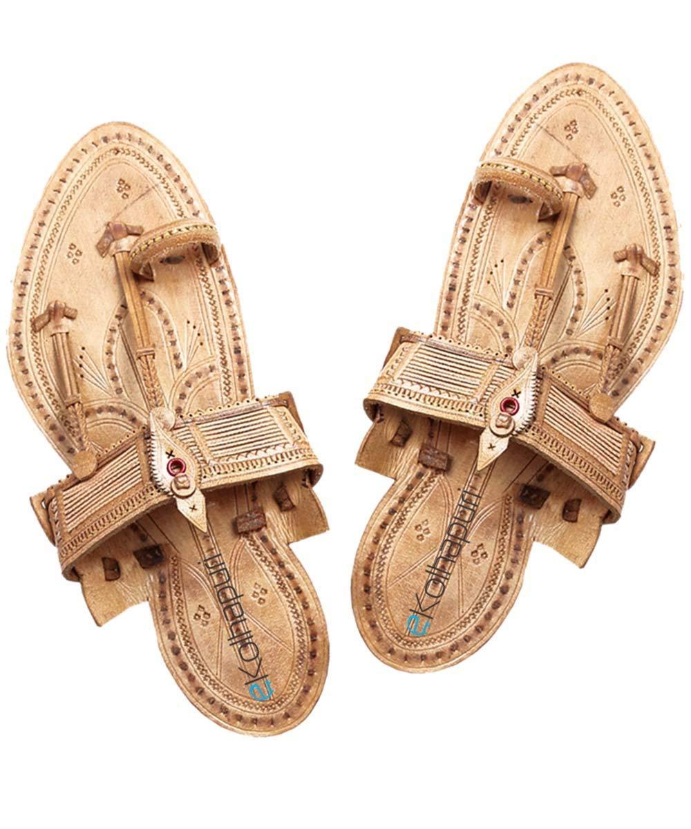 KALAPURI Handmade Authentic Genuine Leather Awesome Looking kapshi Shape Kolhapuri Chappal for Men