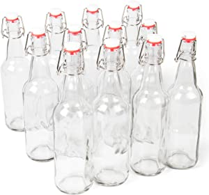 11 oz. Clear Glass Grolsch Beer Bottles – Airtight Seal with Swing Top/Flip Top Stoppers - Supplies for Home Brewing & Fermenting of Alcohol, Kombucha Tea, Wine, Homemade Soda (12-pack)