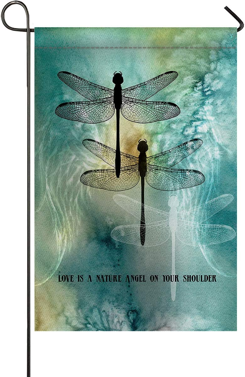 USOPHIA Dragonfly,Love is a Nature Angel on Your Shoulder Polyester House Garden Flag Banner 28 x 40 inch Double Sided Spring Decorative Rustic/Farm House