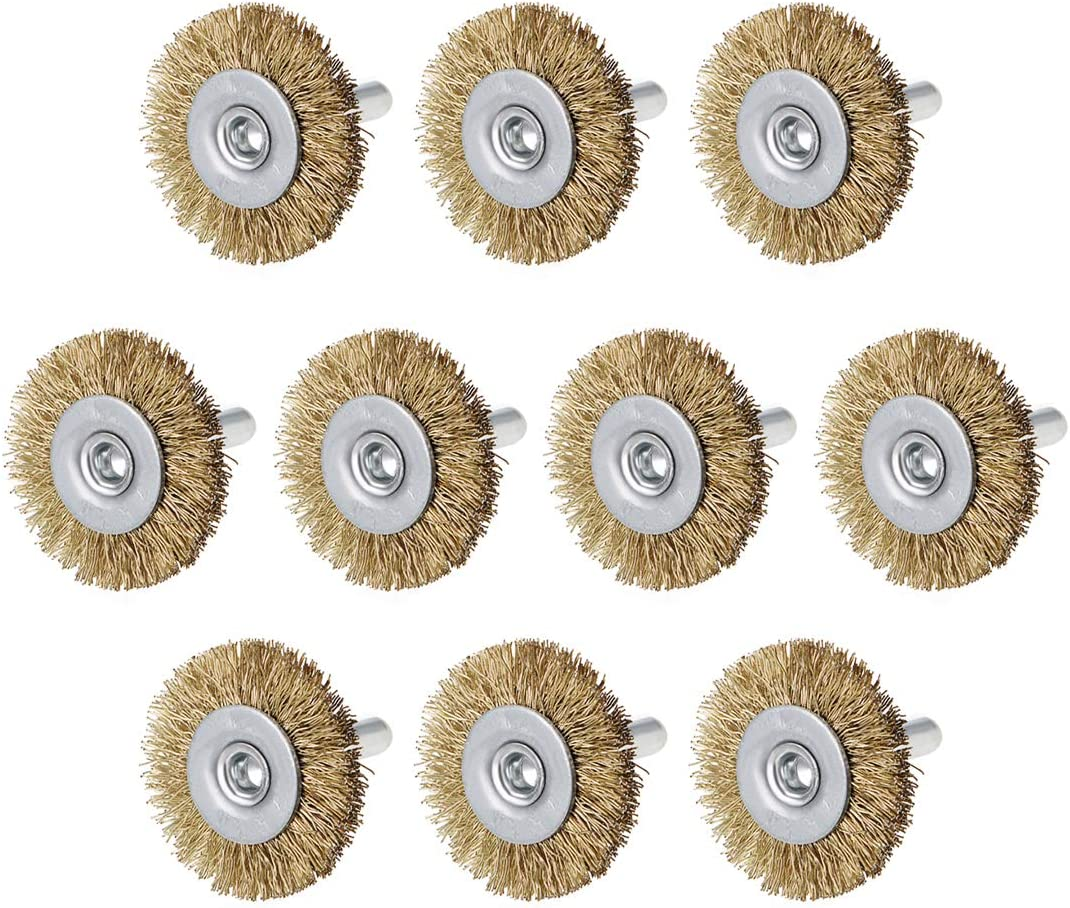 uxcell 2-Inch Wire Wheel Brush Bench Copper Plated Crimped Steel 1//4-Inch Shank 5 Pcs