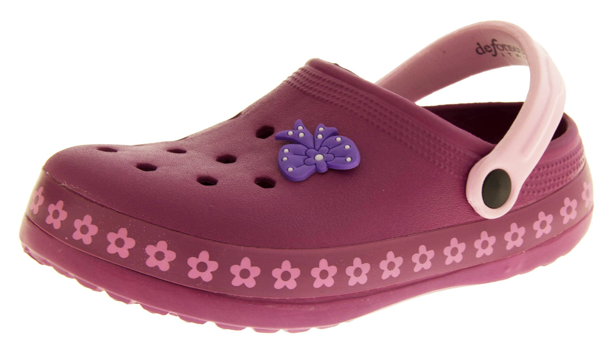 De Fonseca Girls Sabetta Plum Purple Beach Clog Mule Sandals US 3