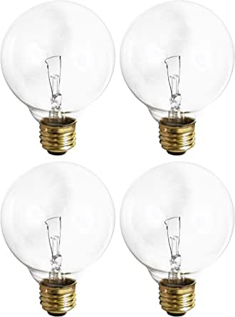 (4 Pack) G25 Incandescent Incandescent Light Bulb 2700K Soft Light, Decorative Globe Light Bulbs,E26 Medium Base, Perfect for Pendant Bathroom/Vanity Mirror Makeup, Dimmable. (Crystal-Clear, 40-Watt)