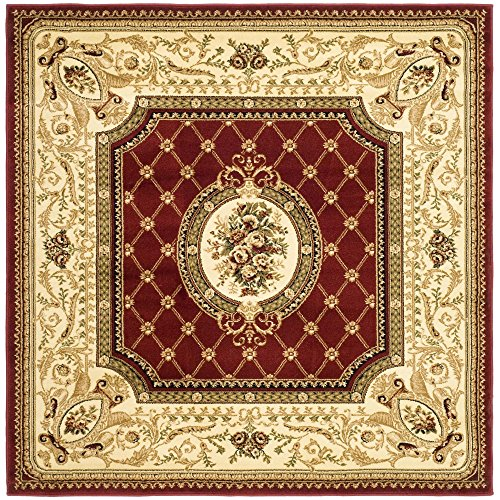 Safavieh Lyndhurst Collection LNH223B Traditional European Red and Ivory Square Area Rug (6' Square)