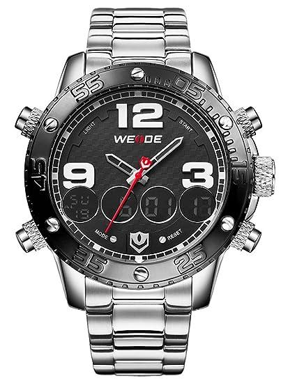 Alienwork DualTime Reloj Hombre Relojes Acero Inoxidable Plata Analógico-Digital Calendario Fecha-Mes Negro