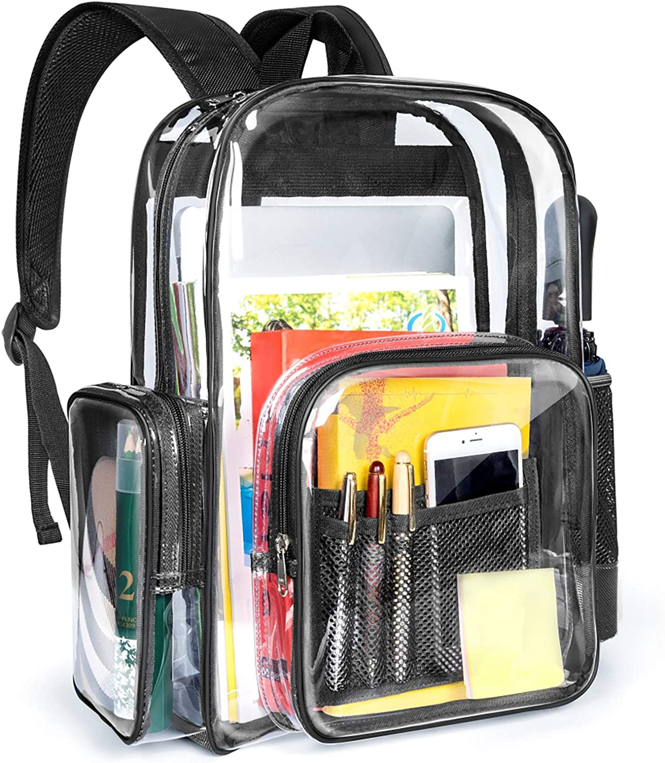 Clear Backpack, Packism Heavy Duty Clear Backpack for Adults with Reinforced Straps Large Clear Bookbag Waterproof Transparent Backpack for School, Security, Stadiums, Work