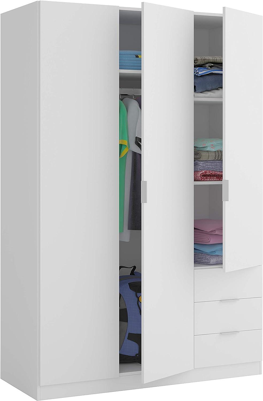 Miroytengo Armario Dormitorio Color Blanco 3 Puertas 3 cajones estantes y Barra para Colgar 121x52x180 cm