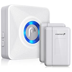Fosmon WaveLink 51007HOM Wireless Door Open Chime (120M/400FT | 52 Tunes | 4 Volume Levels | LED Indicators) - 2 Magnetic Door Entry Alert Security Contact Sensor, 1 Wireless Doorbell Plugin Receiver