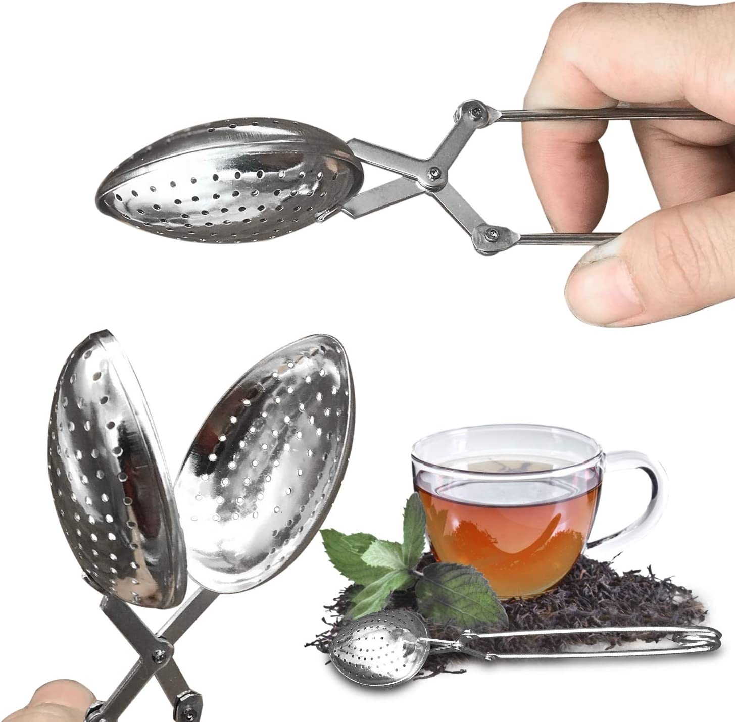 Zaloife Infusore t/è Scolapasta Adatti per Ogni t/è Sfuso 2pcs Tea Strainer Spoon Pinze Filtro Te Foglie di t/è Tea Infusore Acciaio Inox Infusore t/è Filtro Colino Tisane