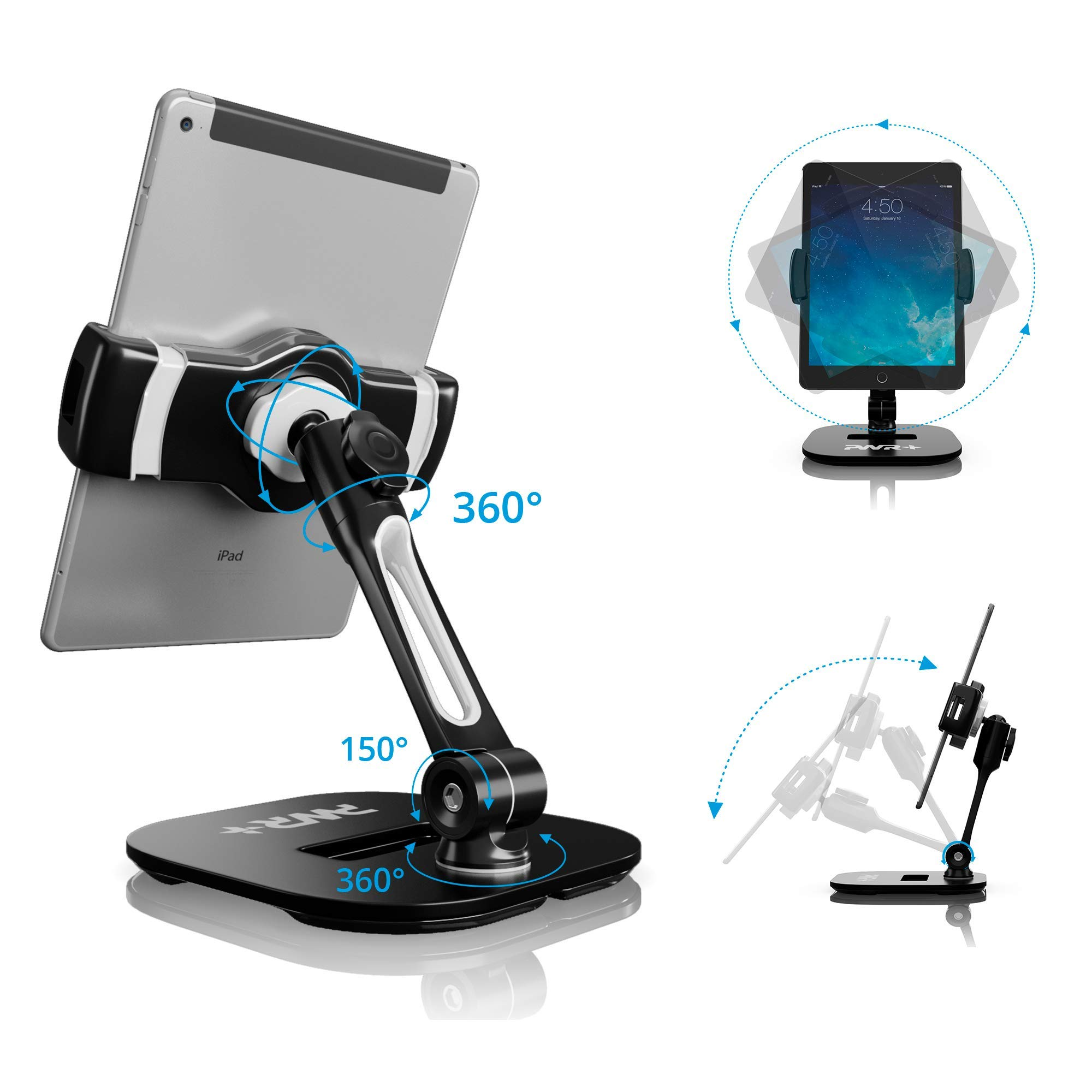 Tablet Stands and Holders Adjustable: Pwr Stylish Tablet Cell Phone Holder 360 degree Swivel Angle Rotation for 4-11'' Tab Phone iPad Samsung Galaxy Perfect POS Kitchen Bedside Office Table Reception by PWR+ (Image #2)