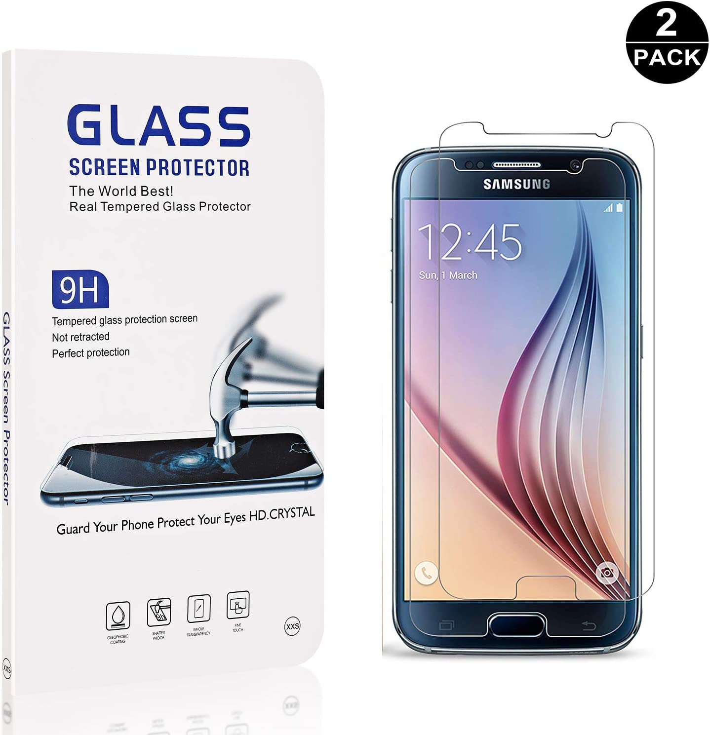 Bear Village Anti-Scratch Bubble Free HD Screen Protector Film for Samsung Galaxy S6 Galaxy S6 Screen Protector Tempered Glass 1 Pack