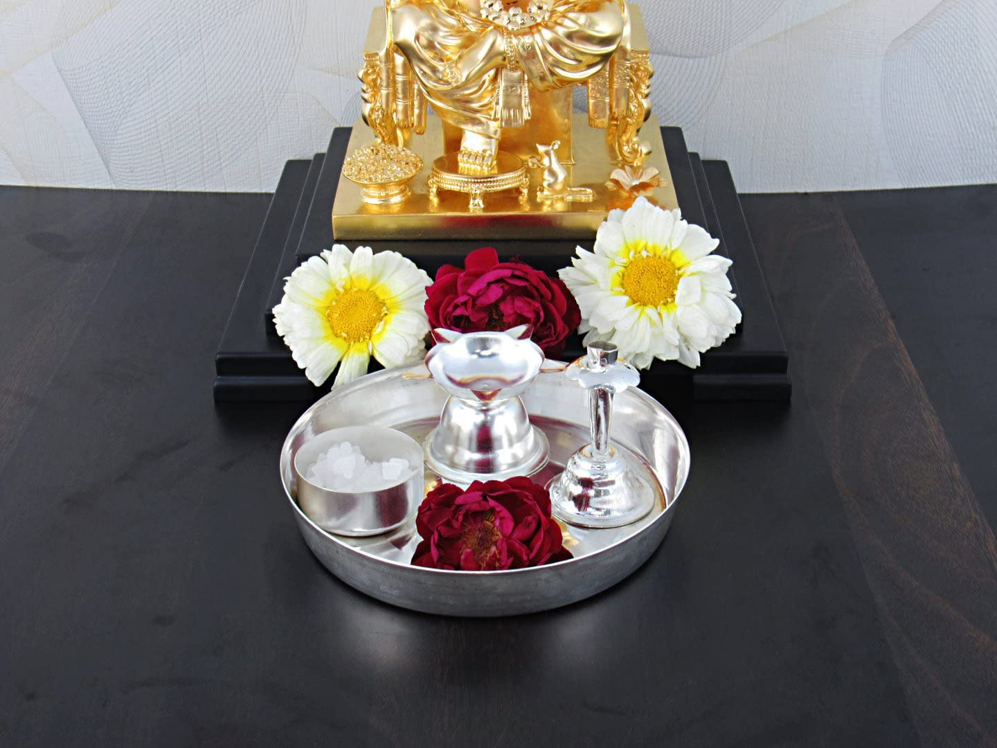 GoldGiftIdeas 5 Inch Silver Plated Pooja Thali Set, Pooja Thali Decorative, Return Gift for Baby Shower and Indian Festival