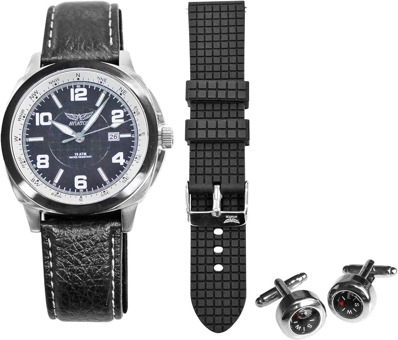 Stuntwinkel Aviator Heren Horloge Giftset (AVX3499G3)