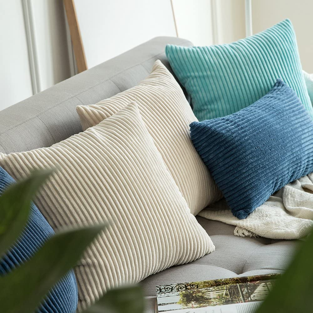 MIULEE Corduroy Soft Soild Decorative Square Throw Pillow Covers Cushion Cases Pillowcases for Couch Sofa Bedroom Car 24 x 24 Inch 60 x 60 cm