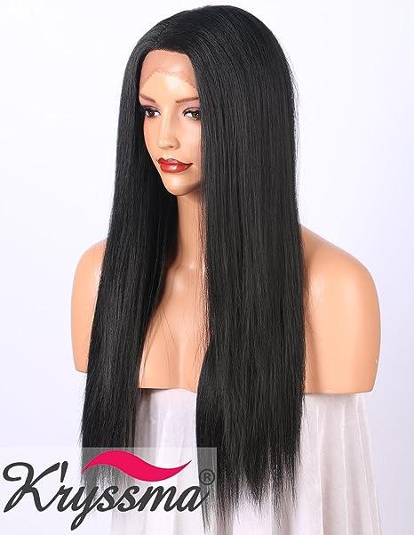 Peluca Kryssma Yaki frontal para mujer color negro de aspecto natural; peluca sinté
