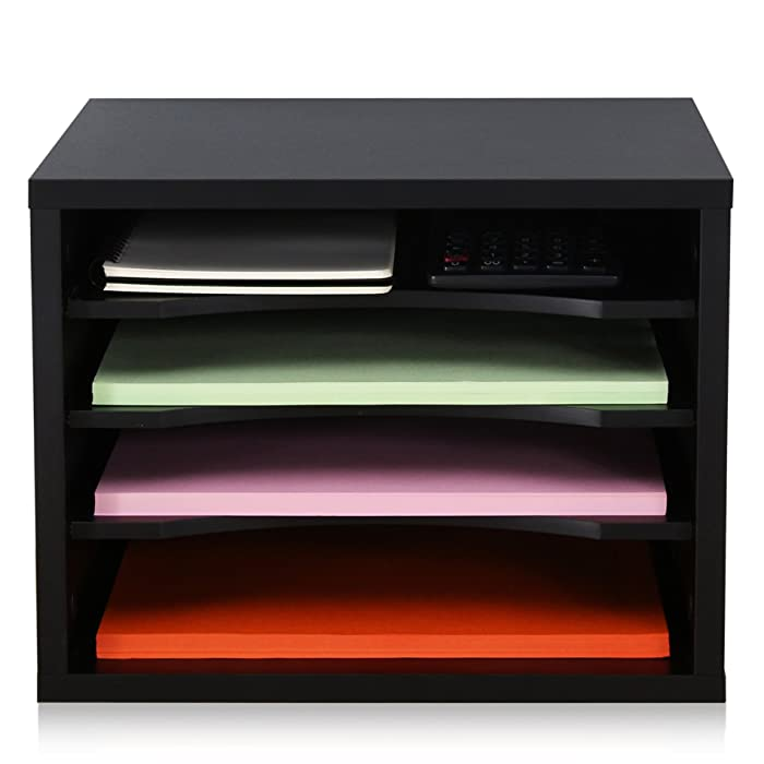 FITUEYES Wood Desk Organizer with 4 storage,Paper File Holder For Home & Office,Black,DO403501WB