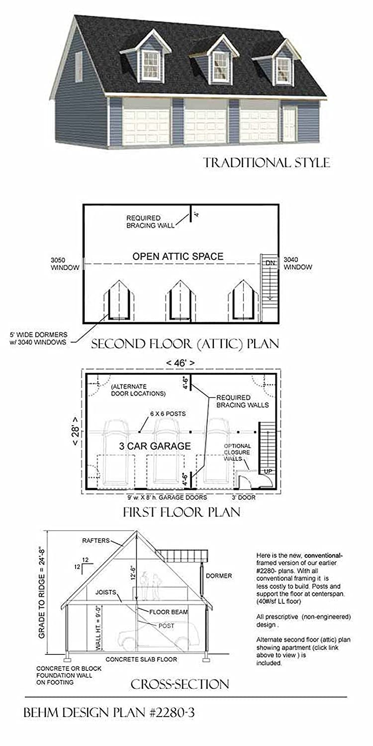 3 car garage with apartment above plans. garage plans: three car with loft apartment (rafter version) - plan 2280-3 amazon.com 3 above plans