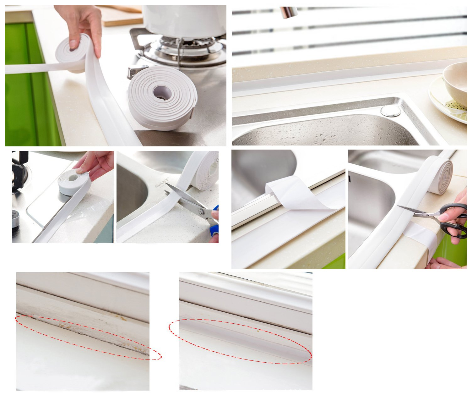 Chengsi Kitchen Bathroom Corner Line Waterproof Tape Baby Safety Furniture and Table Edge Corner Protector Bumper Strip White