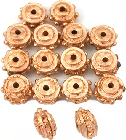 Solid Copper 8mm Flower Saucer Filigree Spacer Bali Style Beads Q10