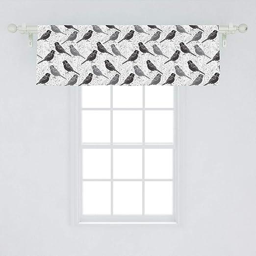 Belle Cantonnière de fenêtre Lunarable grise et blanche, motif oiseau YL-88