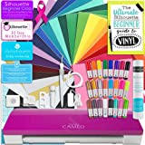 Silhouette Cameo 3 Limited Pink Edition Bluetooth Starter Bundle with 24 Oracal 651 Sheets, Transfer Paper, Guide, Class, 24 Sketch Pens
