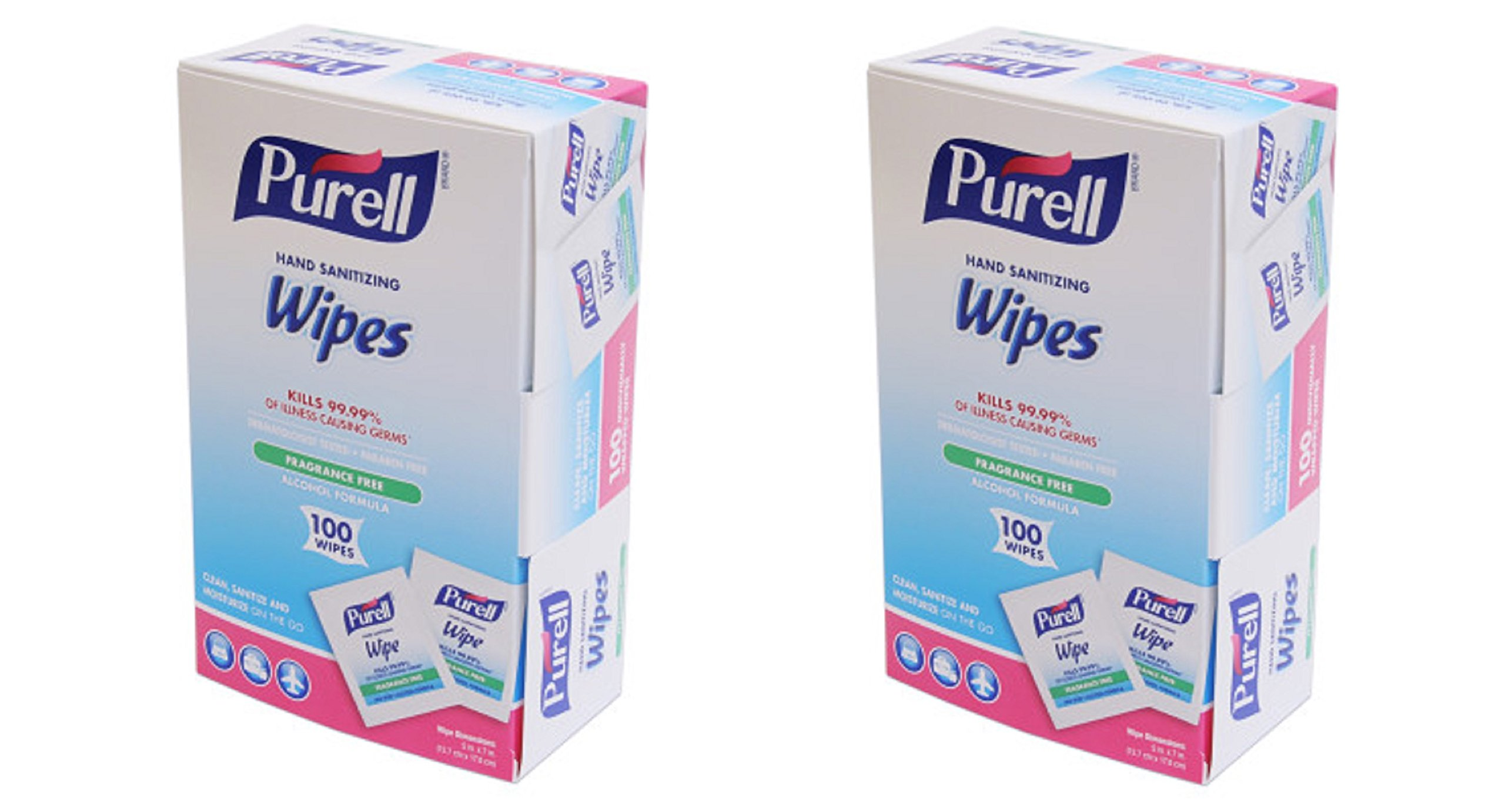 GOJO : PURELL Premoistened Sanitizing Hand Wipes, 5 x 7, 100/Box -:- Sold as 2 Packs of - 100 - / - Total of 200 Each by Gojo