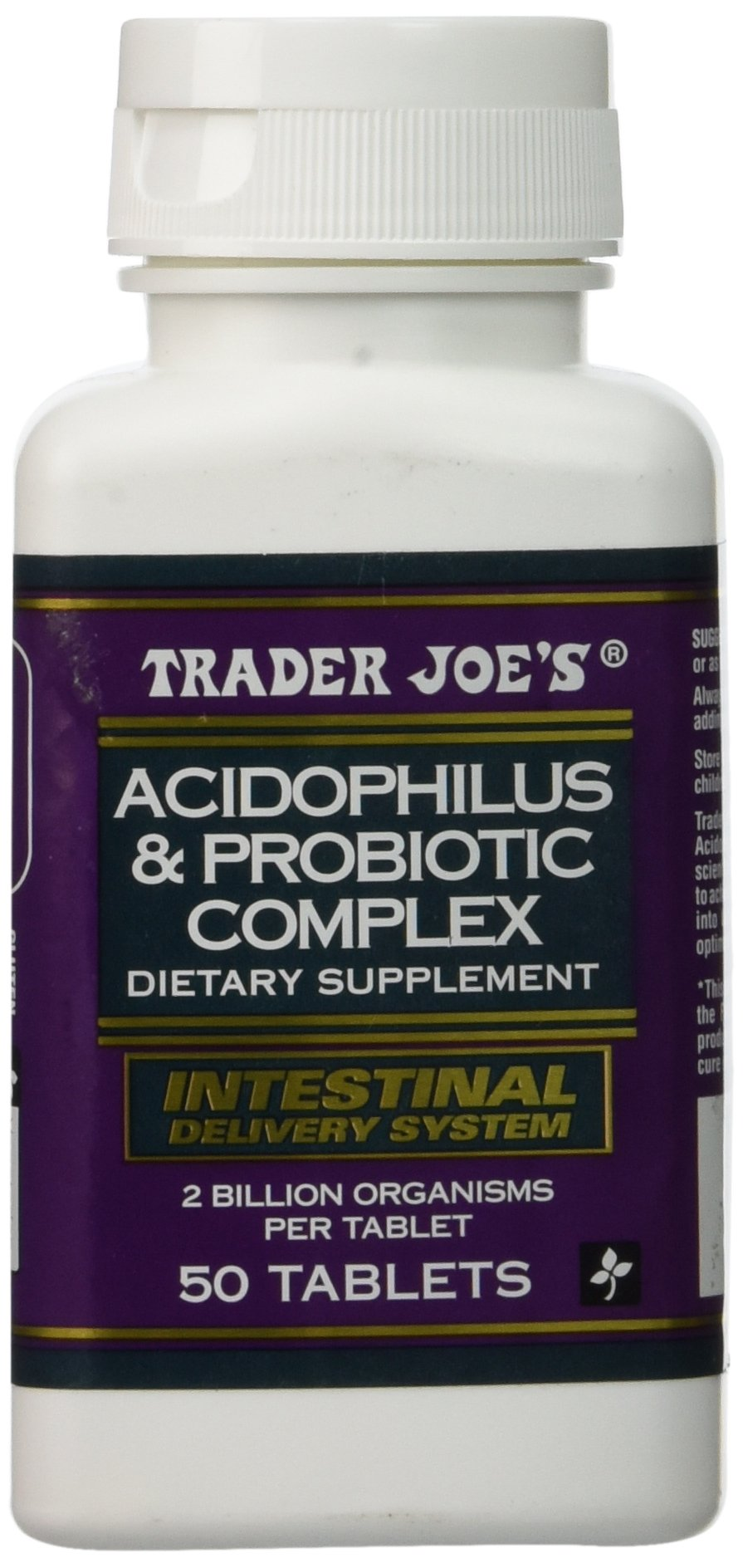Amazon.com: Trader Joes Acidophilus and Probiotic Complex, 50 Tablets, 2  Billion Organisms Per Tablet: Health & Personal Care