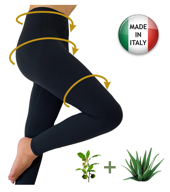 mit Aloe+gr/üner Tee CzSalus Figurformende Anti-Cellulite Lange Hose Leggings schwarz Gr/ö/ße XXL