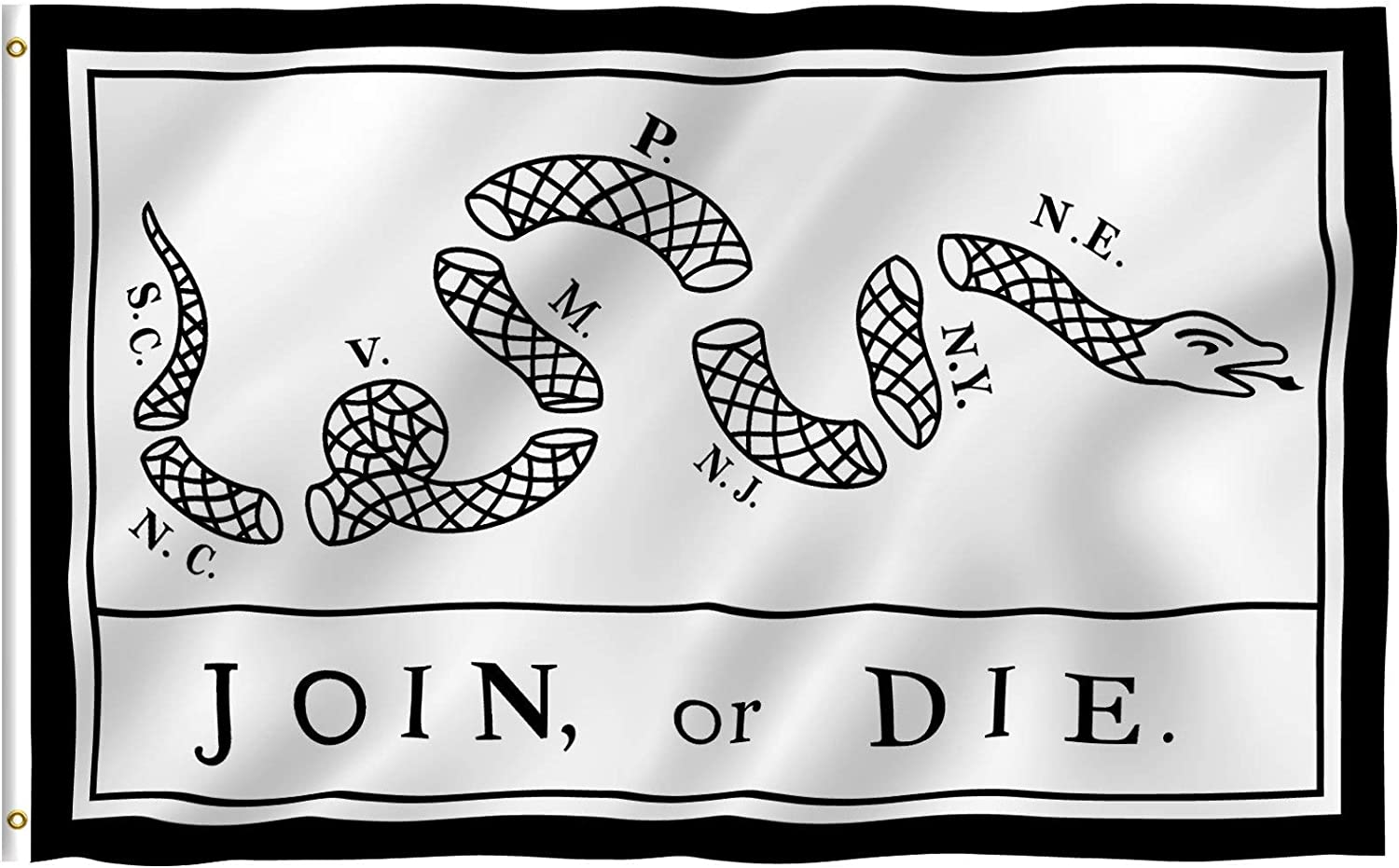 Anley Fly Breeze 3x5 Foot Join Or Die Flag - Vivid Color and Fade Proof - Canvas Header and Double Stitched - Rattlesnake Flags Polyester with Brass Grommets 3 X 5 Ft