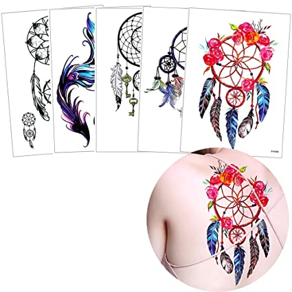 5 hojas Atrapasueños belleza temporal tatuaje cuerpo arte adhesivo ...