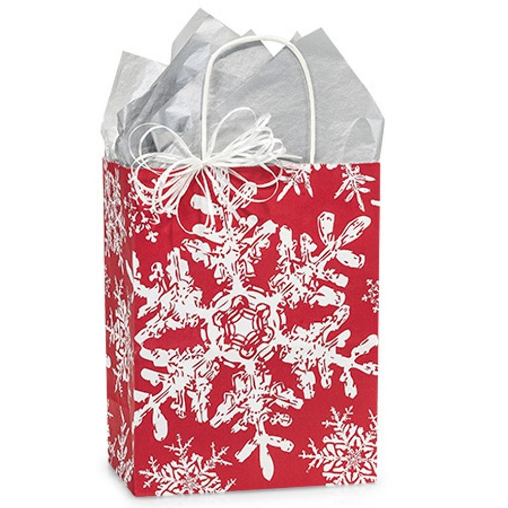 【名入れ無料】 クリスマス雪片レッドショッピングバッグ – Cubサイズ – – 8.25 200 X 4.75 X X 10.5in。 レッド NW-CSFREC B076F7TKXL 200, アリNIPPON:b3378401 --- 4x4.lt