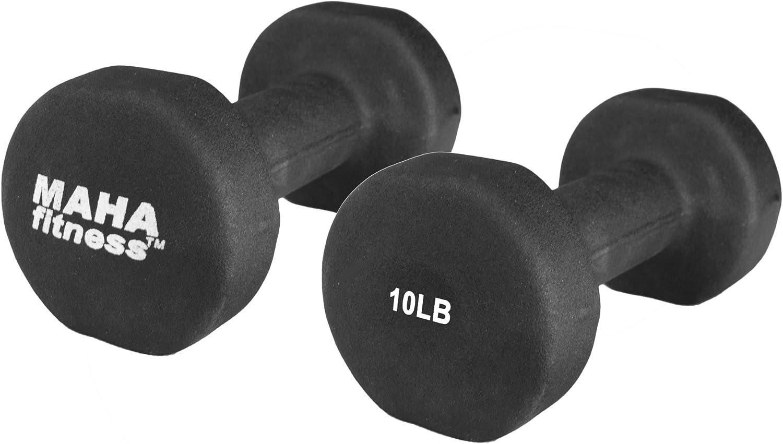 Maha Fitness Neoprene Coated Dumbbells 2 Pack 10 LB