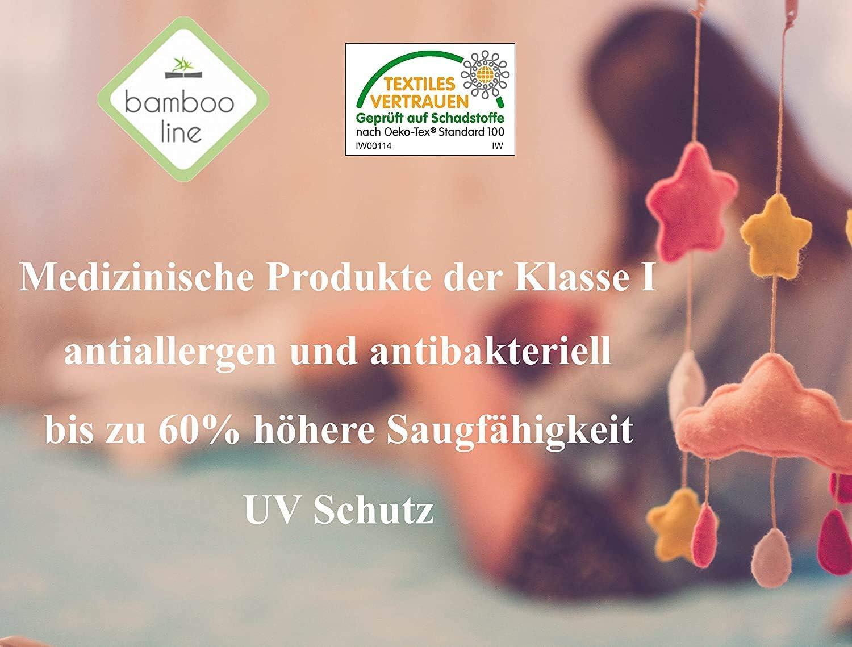 BambooLine Mullwindeln Spuckt/ücher BAMBUS 100/% 3er Pack 75x75 cm /Öko Tex zertifizierte Premium Qualit/ät /Ökologisch Antiallergen Antibakteriell