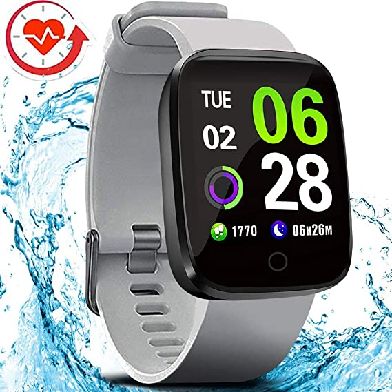FITVII E-Pro Smart Watch Waterproof Fitness Health Tracker with Heart Rate&Blood Pressure Monitor with SpO2 and Sleep Tracker, Stopwatch Step Counter ...